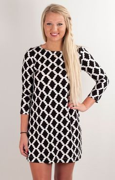 Hourglass Lilly 606DIGBLKWHT is that classic dress we ladies love! In one of the most popular prints this dress can be worn dressed up for dinner, or dressed down  for a super hot summer day! Not to mention this dress is fab for game day as well!!!  With 3/4 length sleeves and a flowy comfy fabric this dress seriously is a staple every girl needs hanging her closet!   95% Rayon 5% Spandex