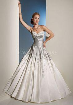 empire waist chapel train sweetheart princess applique wedding dress - Wegodress.com Goes with grey and red theme.