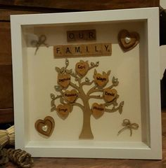 This beautiful family tree box frame is a great keepsake to display your family names Names are engraved by hand and burnt onto wooden hearts.