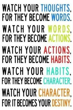 Watch Your Thoughts Colorful Motivational Prints - by AllPosters. Motivational Quotes For Depression, Motivational Quotes For Success, Great Quotes, Positive Quotes, Quotes Inspirational, Unique Quotes, Positive People, Positive Motivation, Gratitude Quotes