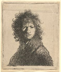 Rembrandt van Rijn, Self-Portrait, Frowning, 1630  etching - sheet (trimmed to plate mark): 7.6 x 6.5 cm (3 x 2 9/16 in.)