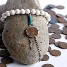 Penny From Heaven Bracelet White now featured on Fab. Penny Jewelry, Pennies From Heaven, White Now, Bangles, Bracelets, Mom And Dad, Tech Accessories, Diy Clothes, Turquoise Necklace