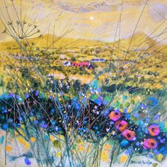 Lemony Landscape by the contemporary artist Deborah Phillips Contemporary Landscape, Landscape Art, Contemporary Artists, Landscape Paintings, Landscapes, Glasgow Art Gallery, Patterns In Nature, Traditional Art, Scotland Uk