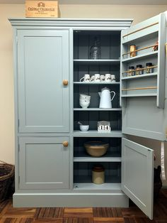 Freestanding larder cupboards & freestanding kitchen furniture made to order in any size and hand-painted in the colour of your choice. Simple Kitchen Cabinets, Kitchen Pantry Storage Cabinet, Kitchen Pantry Design, Diy Kitchen Decor, Kitchen Unit, Pantry Cabinets, Larder Cupboard Freestanding, Freestanding Kitchen, Pantry Cabinet Free Standing