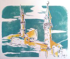 Croquis de Crète - Jordan Graphic Gouache, La Rochelle France, Illustrations, Jordan, Graphic, Statue Of Liberty, Creations, Travel, Sketch