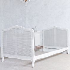 Eloquence One of a Kind Vintage Twin Bed Louis XV Foggy White. #laylagrayce #eloquence
