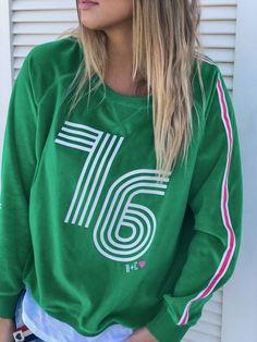 Hammill + Co 76 Retro Velour Sweatshirt Kelly Green   The Rock Box Store