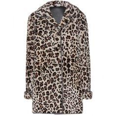 Miu Miu Leopard-Print Shearling Coat (4,755,820 KRW) ❤ liked on Polyvore featuring outerwear, coats, beige, miu miu, shearling coat, leopard coat, leopard print coat and beige coat