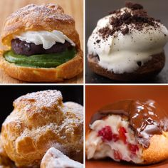 4 creative cream puffs 4 ways to make anything food, dessert recipes und ec Just Desserts, Delicious Desserts, Dessert Recipes, Yummy Food, Tasty Videos, Food Videos, Love Food, Sweet Recipes, Baking Recipes