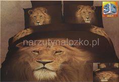 Elegancka brązowa pościel bawełniana z lwem
