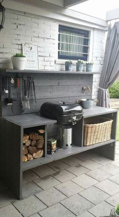 outdoor grill area on a budget . outdoor grill area diy on a budget . outdoor grill area with bar . outdoor grill area on deck Modern Outdoor Kitchen, Outdoor Kitchen Bars, Backyard Kitchen, Summer Kitchen, Modern Kitchen Design, Backyard Patio, Outdoor Living, Outdoor Bars, Rustic Outdoor Kitchens