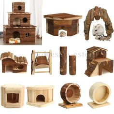 Wooden House Villa Cage Exercise Toys for Hamster Hedgehog Mouse Rat Guinea Pig #UnbrandedGeneric
