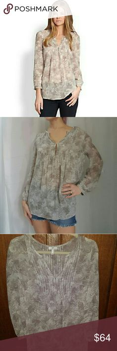 """*HP*Joie $258 Silk """"Carim"""" Blouse Semi-Sheer NWOT HOST PICK! """"Best in Tops"""" (thanks, guys!!)  A soft, nature-inspired pattern adds an understated graphic element to a flowing silk-georgette Joie blouse. Pleats add shape and volume to the silhouette, and hook-and-eye closures secure the split V neckline. Banded cuffs finish the long blouson sleeves. Semi-sheer.   Fabric: Silk georgette.  100% silk.  Dry clean.  Imported, China.   MEASUREMENTS  Length: 28in / 71cm, from shoulder   Sold out…"""