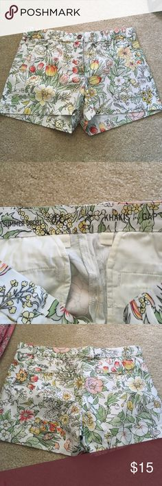 Khakis by GAP summer short white shorts with green, pink, and orange details (flower design) GAP Shorts