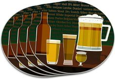 """Custom & Cool {4"""" Inches} Set Pack of 4 Round """"Flat & Smooth Texture"""" Assorted Large Drink Cup Coaster Made of Plastic w/ Cork Bottom & Beer Variety Design [Colorful Green, Brown & Yellow]"""