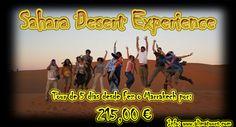 """Os presentamos la ruta """"SAHARA DESERT EXPERIENCE"""" , un viaje diseñado para aquellos grupos de Erasmus, estudiantes o grupos de amigos que quieran disfrutar de una escapada de aventura y descubrir el increible desierto del Sahara.  Viajes con salidas garantizadas desde Fez o Marrakech a partir de 6 viajeros, por sólo 215,00 €. Más info:http://www.alimatours.com/rutas-especiales/sahara-desert-experience/ #marruecos #morocco #erasmus #africa #alimatours #viajeros #mochileros #verano2015 #trip"""