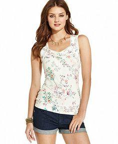 American Rag Floral-Print Lace-Trim Tank Top