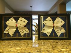 Cheer banquet gifts for Seniors. Shadow boxes with autograph bows from…