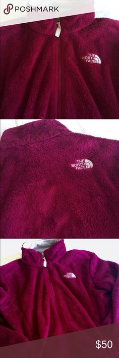 North Face Dark Pink Ladies Furry Jacket Deep pink color, really pretty.  Zipper works great.  Jacket is in great shape.  This is a repost that didn't unfortunately didn't fit me. North Face Jackets & Coats
