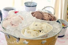 pre-scooped ice cream in bucket of ice for ice cream party atthepicketfence.com