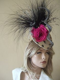 Philip Treacy Cream Polka Dot & Flowers Fascinator - Royal Ascot 2012 Hats for Hire