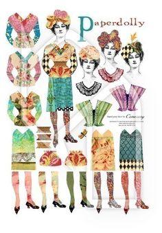 Paper Doll Digital Collage Print Sheet no182