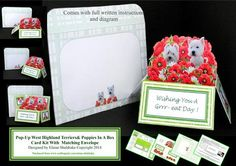 West Highland Terriers Poppies 3D Pop Up Box Card Kit on Craftsuprint - Add To Basket!