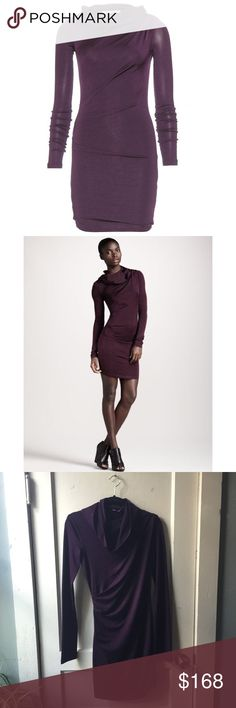T by ALEXANDER WANG Hooded Gathered Purple Dress Plum colored, slinky and silky feeling. Skin tight. Super flattering. Has a good which gives it an extra edge. Super cool dress. No imperfections seen. Is lined with the same fabric inside as what's on the outside. T by Alexander Wang Dresses Mini