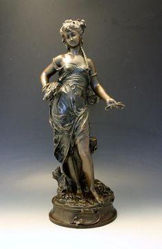 19C French Bronze Figural Sculpture of Cybelle Signed Aug. Moreau No Reserve #ArtNouveau #AugusteMoreau