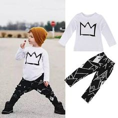 2pcs Kids Baby Boy Crown Long Sleeve T-shirt Tops+Pants Outfits Clothes Set 2-7Y