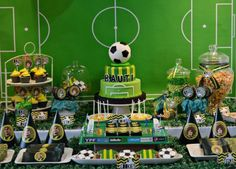 Amazing dessert table and backdrop at a soccer birthday party! See more party planning ideas at Cat. Soccer Birthday Parties, Birthday Themes For Boys, Football Birthday, Soccer Party, Birthday Party Themes, Kids Sports Party, Childrens Party, Dessert Table, Dessert Ideas