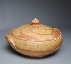 Clay Lidded Casserole Baking Dish Orange and by JohnMcCoyPottery. www.etsy.com/shop/JohnMcCoyPottery