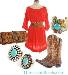 Cowgirl Glam. NEED a red sundress before july