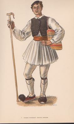 Male traditional costume from Arachova village Fokida Prefecture, central Greece Greek Traditional Dress, Traditional Outfits, Folklore, Ancient Greek Costumes, Greek Men, Greek Culture, Folk Costume, Pli, Men Dress