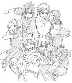 Naruto and Boruto Naruto Sketch, Naruto Drawings, Anime Sketch, Anime Naruto, Naruto Fan Art, Wallpaper Naruto Shippuden, Naruto Wallpaper, Reference Manga, Naruto The Movie