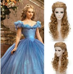 Popular Cinderella Cosplay Elegant Charming Flaxen Long Jerry Curly With Braids Costume Wig Cinderella Cosplay, Cinderella Movie, Cinderella Dresses, Cinderella Hairstyle, Cinderella Makeup, Costume Wigs, Cosplay Wigs, Cosplay Costumes, Anime Cosplay