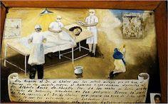 A retablo for intercession, guiding doctors into a successful operation.