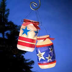 Starlight Luminaries - 4th of july mason jar lanterns