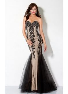 Fabulous Nude Satin And Tulle Sweetheart Appliques Mermaid Evening Dress