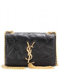 Classic Monogram Embroidered Leather Shoulder Bag ✽ Saint Laurent - mytheresa.com #bag #women #covetme #ysl