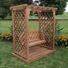 A & L Furniture Covington 7 ft. High Cedar Arbor with Deck and Swing - 1531C-UNFINISHED