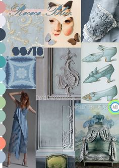 "Inspiration Information © Mirella Bruno Print Trend Colour Designs 2016. ""Rococo Blue."" SS/18. Print and Trend Design Orientations."