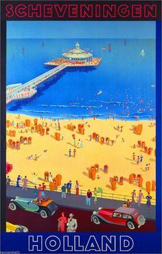 Scheveningen Holland Europe European Vintage Travel Advertisement Art Poster
