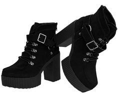 Black Suede Yuni Platform Boots | T.U.K. Shoes