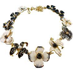 Signed KJL Kenneth Jay Lane Gold Tone Enamel Floral Statement Necklace Book -- found at www.rubylane.com @rubylanecom #VintageBeginsHere