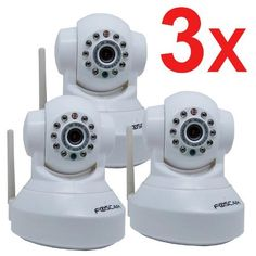 3 Pack Foscam New Version FI8918W Pan & Tilt Wireless IP Camera - Infrared Night Vision, 2 Way Audio, Motion Detection Email Alert, White by Foscam. $213.72. The FI8918W is a wireless or wired, pan/tilt IP camera solution for indoor use. It combines a high quality digital video camera, remote pan/tilt ability with network connectivity and a powerful web server to bring clear video to your desktop or smartphone from anywhere on your local network or over the Internet. The imag...