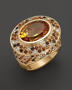 Madeira Citrine Ring with White Sapphire, Smokey Quartz and Citrine in 14K Yellow Gold | Bloomingdale's