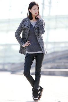 Grey High Collar Jacket Winter Wool Women Coat-CF054 von YL1dress