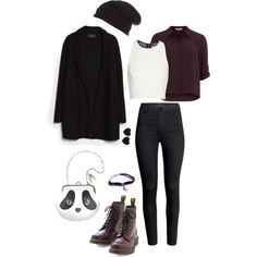 """Black, White & Purple Outfit"" by roses-s on Polyvore"