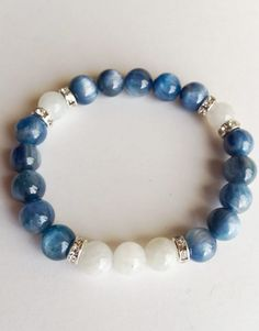 Genuine Blue Kyanite & White Moonstone Bracelet w/ Swarovski Crystal Accents ~ Clarity and Intuition